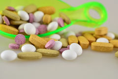 Pills. Colourful pills and tablets - medicaments Stock Photography