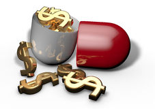 Pills cost medicines, pharmacy Stock Images