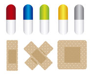 Pills and cure band Royalty Free Stock Images