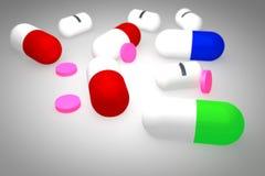 Pills 3d stock photos