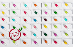 Pills of different colors Royalty Free Stock Photo