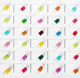Pills of different colors in the distribution Stock Photo