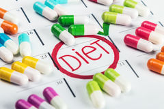 Pills of different colors lie on the diet plan. Schedule  pill Stock Images