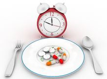 Pills on a dinner dish with a spoon and fork Royalty Free Stock Photo