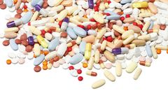 Pills/drug. Colored pills macro photographed in studio environment Royalty Free Stock Photo