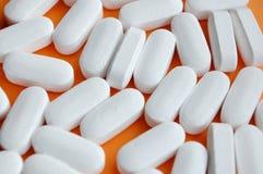 Pills drugs. Collecction of white pills macro Stock Photo