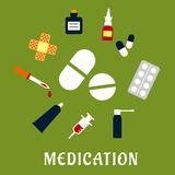 Pills, drugs and medical icons Royalty Free Stock Photo