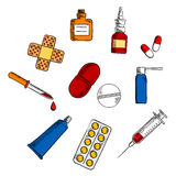 Pills, drugs and medication icons Royalty Free Stock Photography