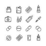 Pills, drugs, pharmacy medicine, medication line vector icons Stock Photo