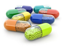 Pills and drugs on white  bacground. Medical concept. Stock Photos