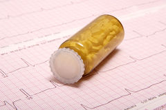 Pills on ECG chart (ECG results) Stock Photo
