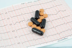 Pills on ECG Royalty Free Stock Images