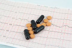 Pills on ECG Stock Photos