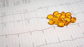 Pills on EKG. Vitamin D placed on an EKG test result - Electrocardiogram Stock Photos