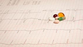 Pills on EKG. Vitamins placed on an EKG test result - Electrocardiogram Royalty Free Stock Image