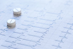 Pills on an electrocardiogram paper Royalty Free Stock Image