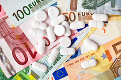 Pills and euro banknotes Royalty Free Stock Photography