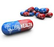 pills för hälsa för kapselomsorg globala Arkivfoto