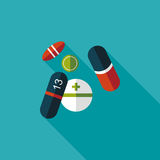 Pills flat icon with long shadow. Vector illustration file stock illustration