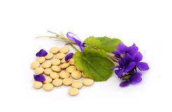 Pills and flowers Stock Photos