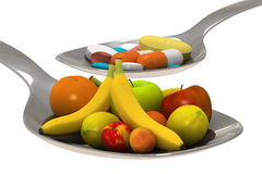 Pills or fruits - Isolated Royalty Free Stock Photos