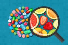 Pills and fruits. Vitamins medical and natural Stock Image