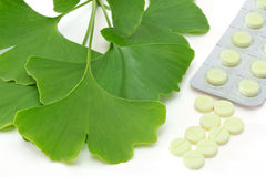 Pills of Ginkgo Stock Photos