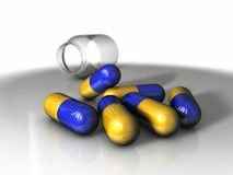 Pills - glass container Royalty Free Stock Images