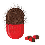 Pills for hair growth. Hairy tablet. Vector illustration of medi. Cines Stock Image