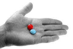 Pills on the hand Stock Images
