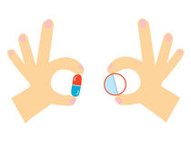 Pills in the hand cartoon for the medicine Royalty Free Stock Images