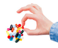 Pills in hand Royalty Free Stock Photos