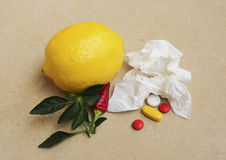 Pills and handkerchief Royalty Free Stock Photography