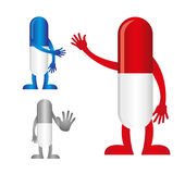 Pills with hands stock illustration