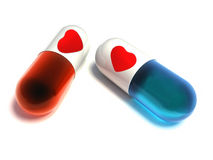 Pills with heart. Stock Photo