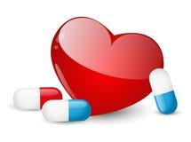 Pills for heart Stock Image