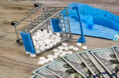Pills and heart in a shopping cart, dollars, mask and gloves on a wooden background.