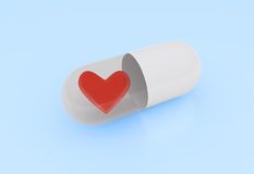 Pills with heart symbol Stock Images