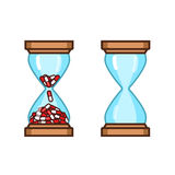 Pills hourglass dosage schedule. Vector illustration Stock Images