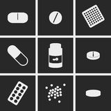 Pills Icons. Set of icons on a theme Pills Royalty Free Stock Photography