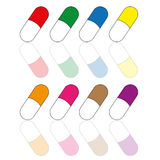 Pills. Illustration of a colored set of pills Royalty Free Stock Images