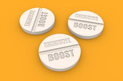 Pills with immune boost text Royalty Free Stock Photo