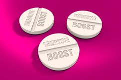 Pills with immune boost text. Pharmacy and medicaments relative theme 3D rendering Stock Images