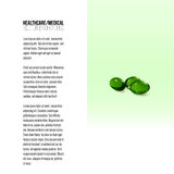 Pills isolated on green background, vector background for brochure, flyer or banner Royalty Free Stock Photography