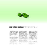 Pills isolated on green background, vector background for brochure, flyer or banner Royalty Free Stock Images