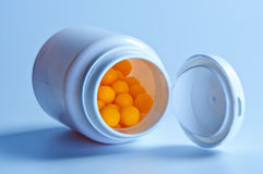 Pills in a jar. Royalty Free Stock Photography