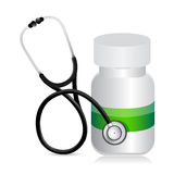 Pills jar with a Stethoscope Stock Photos