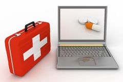 Pills for a laptop Stock Photography