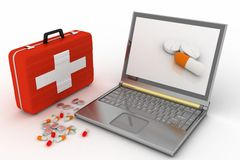 Pills for a laptop Stock Photo