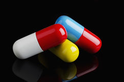 Pills on laptop Royalty Free Stock Image